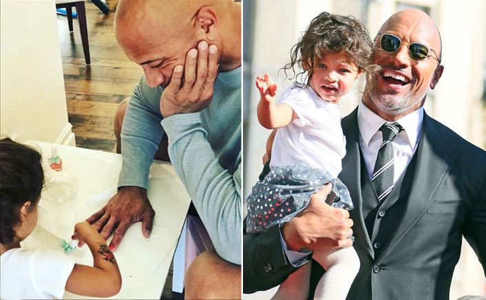 Dwayne Johnson's daughter paints his nails red