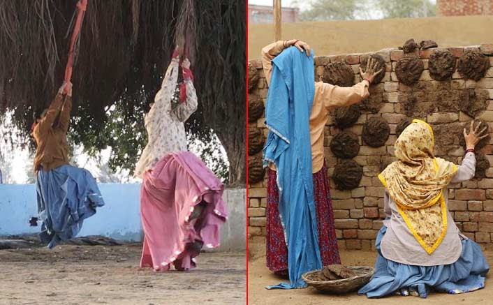 Bhumi, Taapsee pose with cow dung cakes