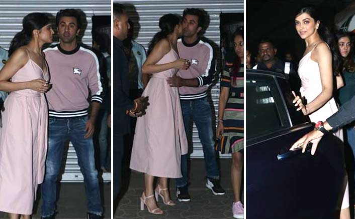 Deepika, Ranbir Kapoor share hugs, goodbye kisses