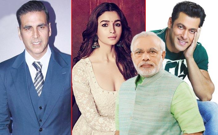 Salman Khan, Akshay Kumar, Alia Bhatt - Narendra Modi In His FILMY Style Urges Entire B'Town To Create Voting Awareness