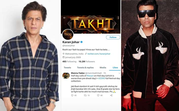 #ShameOnKaranJohar: Shah Rukh Khan Badly TROLL KJo For Liking An Abusive Tweet Against The Superstar!