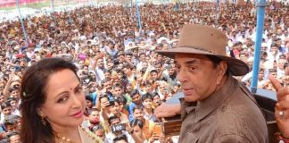 Dharmendra recalls 'Sholay' dialogues - at rally
