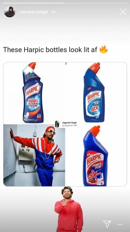 Ranveer trolls himself with toilet cleaner meme