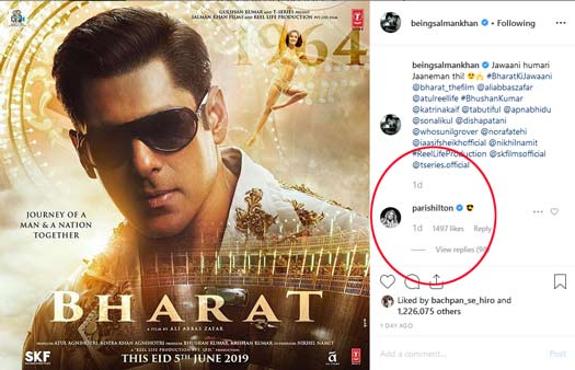 Salman Khan Has Found A New Fan In Paris Hilton. Her Comment On Bharat's Poster Is Proof
