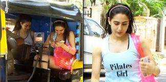Sara Ali Khan takes an auto for workout session