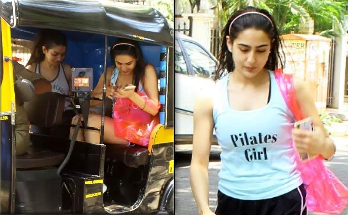Sara Ali Khan takes an auto for workout session