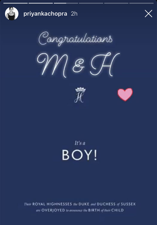 Priyanka congratulates Meghan, Prince Harry
