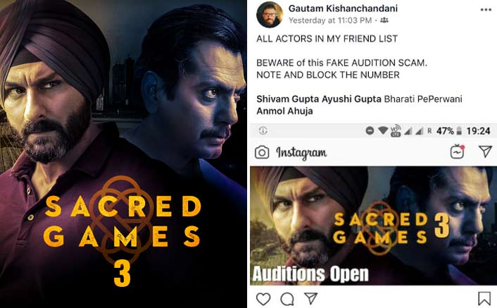 Fake Audition Scam On Social Media For Sacred Games Season 3 Comes To Notice Before Season 2.. Thanks to this person