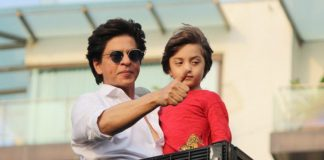 SRK, son AbRam greet fans outside Mannat on Eid