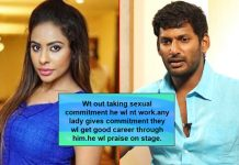 "Telugu Actress Sri Reddy Accuses Vishal: ""Without Taking Sexual Commitment, He Will Not Work"""