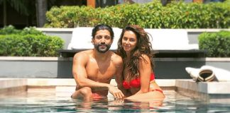 Shibani Dandekar Looks Sultry Hot In Red Bikni With Farhan Akhtar In Pool