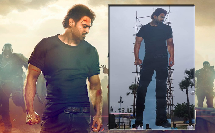 Fan frenzy got a massive 70-feet installation of Superstar Prabhas for the 'Saaho' pre event in Hyderabad
