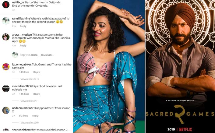 Fans disappointed as Sacred Games 2 doesn't feature their favourite Radhika Apte!