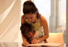 #Motherhood: Sunny Leone helps daughter finish homework