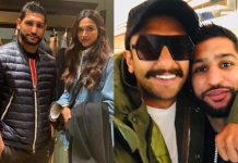 'Power couple' Ranveer, Deepika pose with boxer Amir Khan