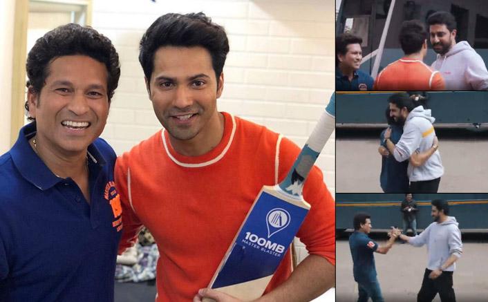 VIDEO: Abhishek Bachchan, Varun Dhawan Play Gully Cricket With Living Legend Sachin Tendulkar