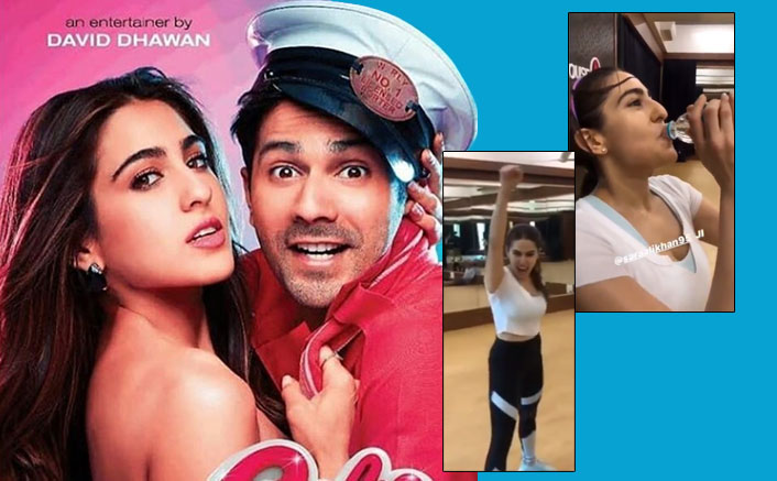 Varun Dhawan Rags Sara Ali Khan While Rehearsing A Dance Sequence For Coolie No. 1!