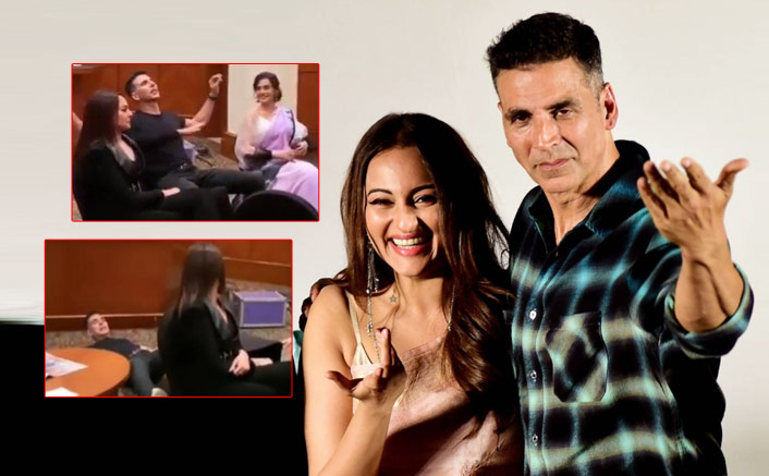 """Akshay Kumar is known as Bollywoods 'Khiladi, but it was """"Dabbang"""" star Sonakshi Sinha who managed to knock him off his chair."""