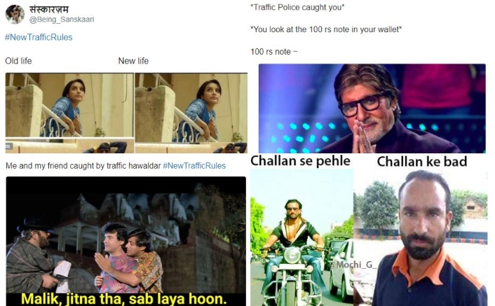 Twitterati Comes Up With Bollywood Memes About New Traffic Rules & They're Funny AF
