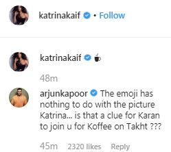 Katrina Kaif Posts A Sexy Picture But Arjun Kapoor's 'Koffee On Takht' Comment Catches Our Attention