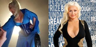 Christina Aguilera Suffers Wardrobe Malfunction, Accidentally Reveals Nipple Tape