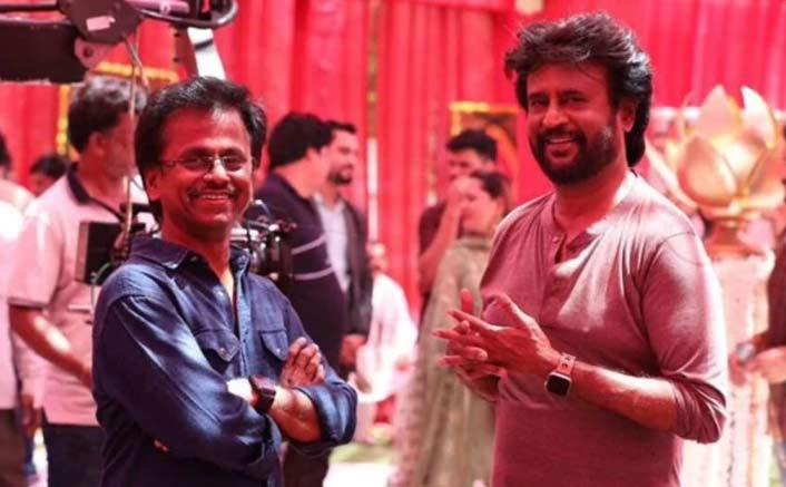 Director A.R Murugadoss With Mega Star Rajinikanth On Sets Of #DARBAR In Mumbai