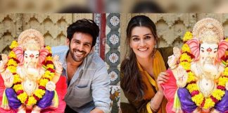 Lukka Chuppi Actors Karthik Aaryan And Kriti Sanon Engage In Hilarious Conversation After Cropping Each Other From Ganesh Chaturthi Pictures