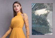 Mouni Roy's car damaged by falling rock at Metro rail site