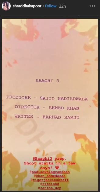 Shraddha starts prep for 'Baaghi 3'