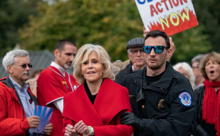 Jane Fonda Accepts BAFTA Award While Protesting & Getting Arrested For Climate Change