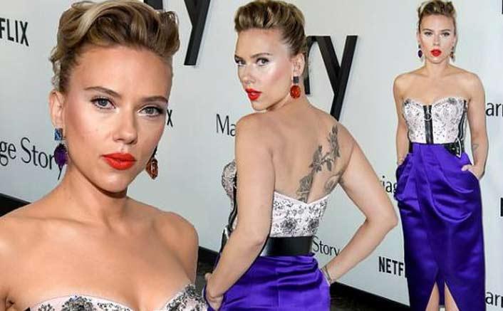 Scarlett Johansson Rocks Back Tattoo & Strapless Dress At A Film Premiere