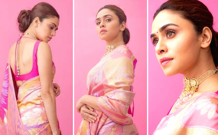 Wondering What To Wear On A Friends' Wedding Reception? Amruta Khanvilkar's Pink Saree Is The Perfect Fit