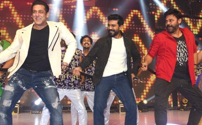 Dabangg 3: Salman Khan Does The Hook Step With Ram Charan & Venkatesh In Hyderabad
