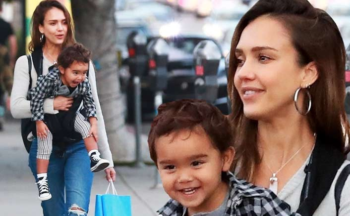 Jessica Alba indulges in holiday shopping with one-year-old son