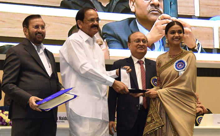 Pics: Keerthy Suresh Receives National Award For 'Mahanati' From Vice President Venkaiah Naidu; Fans Pour In Congratulatory Messages