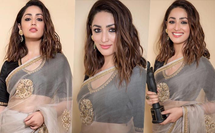 Save Yami Gautam's Sheer Beige Saree In Your Closet For A Wedding Function