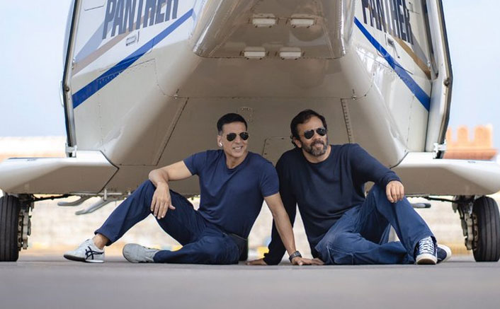 Sooryavanshi: Akshay Kumar, Rohit Shetty's Daredevil Pose Below The Chopper!