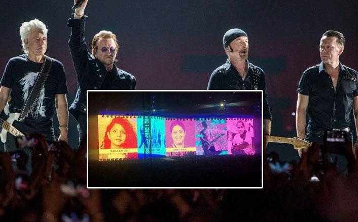 U2 honour Smriti Irani, Gauri Lankesh, Arundhati Roy at Mumbai gig