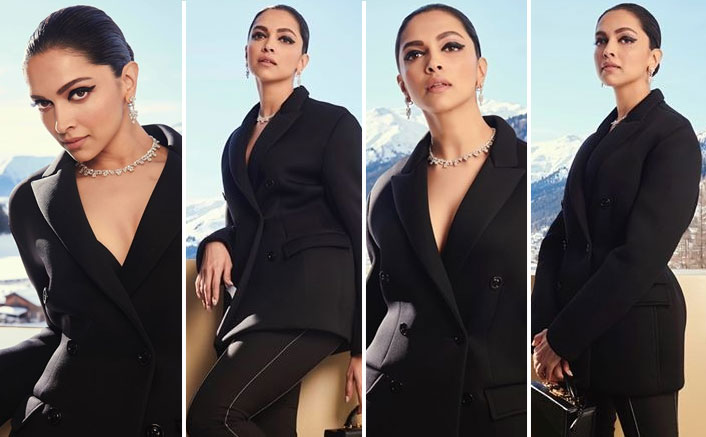 Deepika Padukone makes a statement in a black pantsuit as she takes over Davos!
