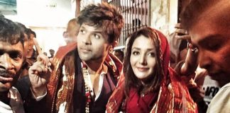 Happy Hardy and Heer Jodi Himesh Reshammiya and Sonia Mann seek blessings in Mathura at Banke Bihari temple for their film Happy Hardy and Heer