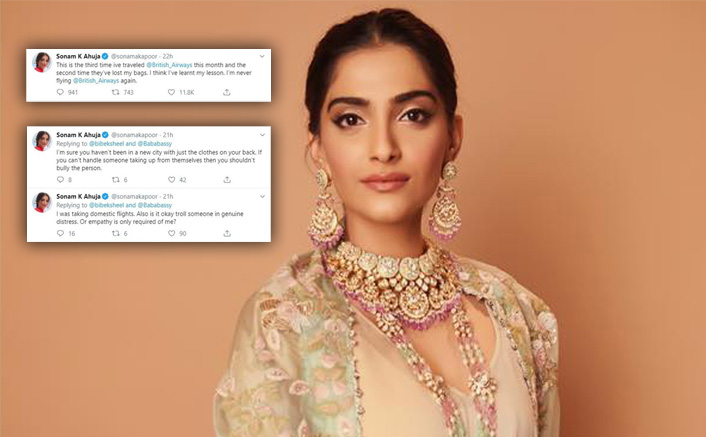 SonamKapoor Has A Savage Response To Trolls Accusing Her Of Nepotism After AirlinesMisplaces Her Luggage
