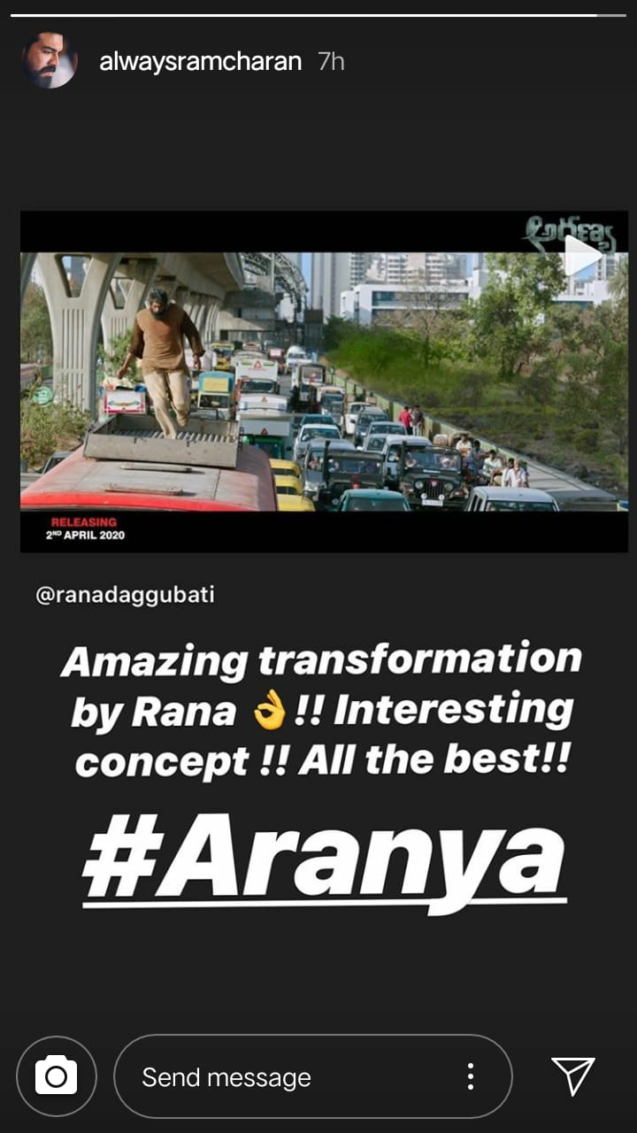 Ram Charan Sends His Best Wishes To BFF Rana Daggubati For 'Aranya'