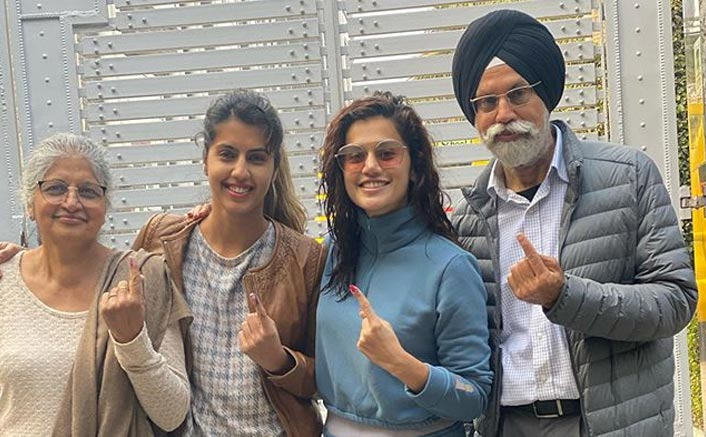 Delhi Elections 2020: Taapsee Pannu Shows Off Her Inked Finger As She Casts Her Vote With The 'Pannu Parivaar'