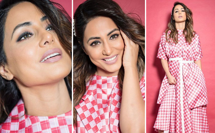 Hina Khan's Red Bais Cut Dress With A Checkered Overcoat Is A Must-Have Valentine's Day Outfit