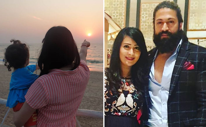 KGF Star Yash's Wife Radhika Pandit & Daughter Ayra Enjoy Sunset At A Beach