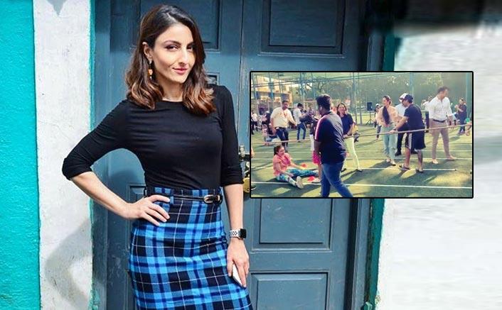 Soha falls playing tug-of-war at Inaaya's sports day