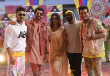 Spotted: Mouni Roy, Sunny Singh, Varun Sharma, Remo D'Souza and Abhinav Shekhar shooting for a Holi Song.