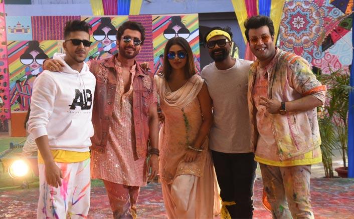Spotted: Mouni Roy, Sunny Singh, Varun Sharma, Remo D'Souza and Abhinav Shekhar shooting for a Holi Song.