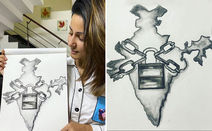 COVID-19: Hina Khan sketches India in lock and chain