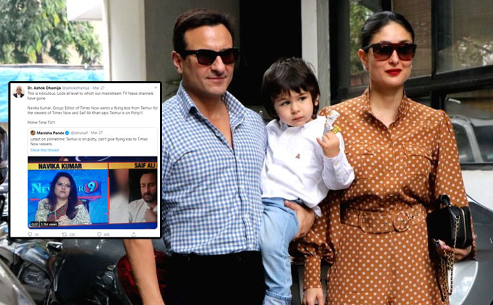 Journalist Gets Massively Trolled Over Asking Saif Ali Khan For A Flying Kiss From Taimur On National TV; See Tweets